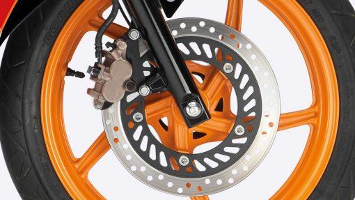 Honda CBR 125R Motorbike wheel, Chelsea, London, UK