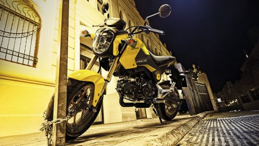 Honda MSX 125 Motorbike, parked at night, London