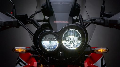 Honda CRF250 Rally Motorbike, front view, London