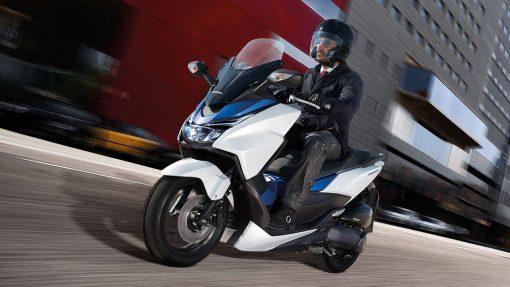 Honda Forza 125 scooter, riding, Chelsea