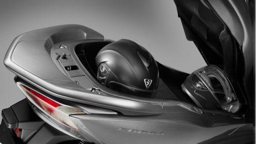 Honda NSS300 Forza scooter, helmet storage, Chelsea, UK