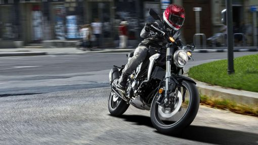Honda CB300R bike in action - turning